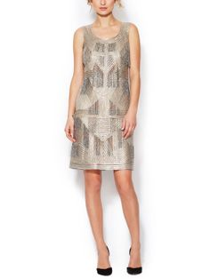 Beaded Fringe Metallic Silk Dress by Oscar de la Renta at Gilt