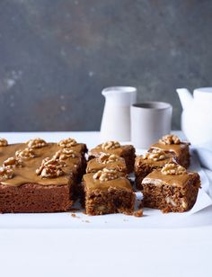 This coffee and walnut traybake recipe is an easy single-layer cake without a fiddly filling – just cut into squares and enjoy! See our tip to make it gluten free Cake Recipes Uk, Tray Bake Recipes, Sweet Recipes, Dessert Recipes, Baking Recipes Uk, Easy Recipes, Cookie Recipes, Healthy Recipes, Coffee And Walnut Cake