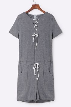 Casual Lace-up Design Sport Romper in Grey