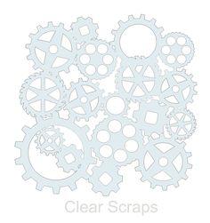 Living Room Stencil: Clear Scraps - Mascils - 12 x 12 Masking Stencil - Gears at Scrapbook.com