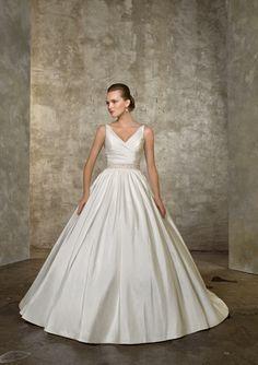 Faddish Beaded Wasitline V-Neck Sweep Train Satin Ball Gown Wedding Dress for Brides