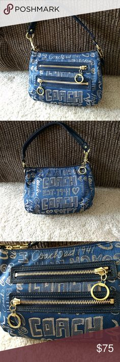 b7c122de42 Coach blue and gold poppy wristlet Gorgeous bag is blue with shimmery gold.  EUC -