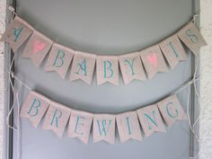 A Baby Is Brewing - Tea Party Baby Shower Banner - Beer Themed Baby Shower Decor…
