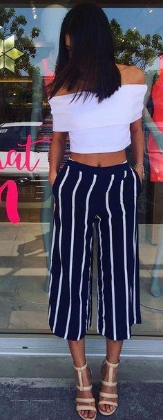 White Off Shoulder Crop + Stripe Pants Source