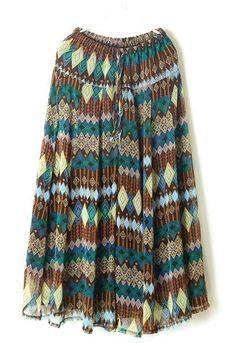 Khaki Green Drawstring Waist Geometric Print Skirt