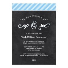 """Chalkboard """"Sip and See"""" invites for a baby boy"""