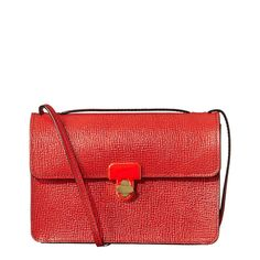 Red Leather Textured Sweet Pea Cross Body Bag - Orla Kiely Accessories - Private sales | BrandAlley