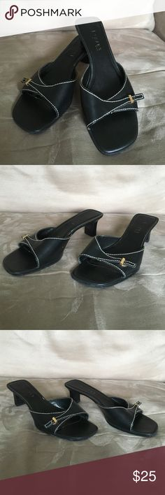"""Ralph Lauren 8 black leather slides 2"""" heel Sophisticated high quality Ralph Lauren genuine leather slides in black with contrasting cream colored stitching. These beautiful shoes feature a 2 inch heel, open toe with fold over leather band, and gold Lauren logo clasp. Ralph Lauren Shoes Sandals"""