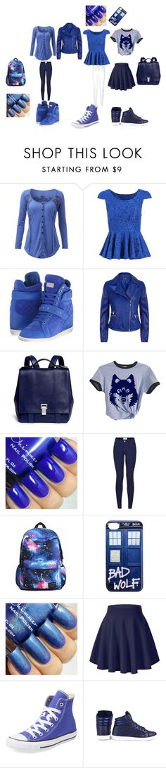 """""""new blue collection"""" by ilovecupies on Polyvore featuring Philipp Plein, Armani Jeans, Proenza Schouler, Converse, women's clothing, women, female, woman, misses and juniors"""
