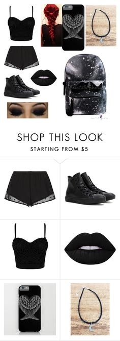 """""""Dark Angel"""" by autumn-aaliyah ❤ liked on Polyvore featuring Princesse tam.tam, Converse and Lime Crime"""