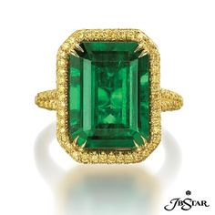 Stand out from the crowd with this exquisite emerald-cut emerald engagement ring featured with fancy yellow pave in 18k yellow gold.