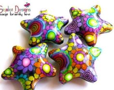 Polymer clay barrel beads  floral beads  multicolored by Sigaliot