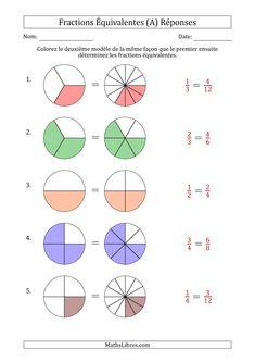 Fractions Équivalentes à l'Aide des Modèles et Avec une Fraction Simplifiée en Premier (A) page 2 Multiplication Activities, Ks2 Maths, Math Activities, Primary Maths, Primary School, Math For Kids, Fun Math, Fractions Équivalentes, Addition Chart