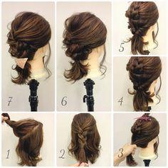 いいね!182件、コメント4件 ― 黒石 純さん(@dangomusi_kuro_jun)のInstagramアカウント: 「ミディアム&ボブのヘアアレンジ 1. トップのこれくらいを 2. 後ろで三つ編みにして結ぶ。 3. トップ以外を後ろで結んで 4. くるりんぱ。 5.…」