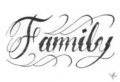 The word family tattoos designs. Text Tattoo, Chicanas Tattoo, Tattoo Outline, Chicano Lettering, Tattoo Lettering Fonts, Tattoo Script, Cursive Tattoos, Writing Tattoos, Word Tattoos