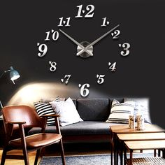 New Creative Large Wall Clock DIY 3D Sticker Luxury Home Decor Art Style Digit