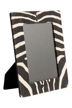 Ramă foto din material textil - Gri-antracit/imprimeu zebră - HOME | H&M RO 1