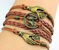 Antique bronze Palms of the love bracelet-Bird bracelet-Brown Wax rope woven rope handmade jewelry-Lovely bangle child's gift