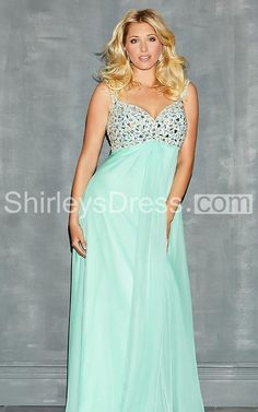Enchanting Sleeveless Empire Waist Long Gown with with Jeweled Bodice