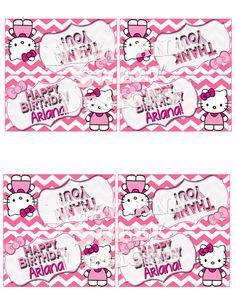 """Printable """"HELLO KITTY TREAT Bag Toppers"""" - Hello Kitty Party Favors - Hello Kitty Favor Tags - Pink Chevron Hello Kitty Bag Tags"""