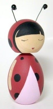 Lucy the Lovely Ladybug Kokeshi Doll by Pegged on Etsy