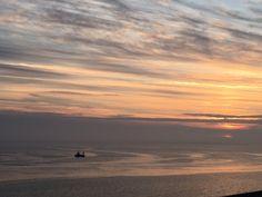 Le soleil se couche sur la plage du Crotoy.