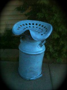 SALE Vintage Milk Jug Tractor Seat Photo Prop. $100.00, via Etsy.