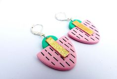 DECO Earrings Pink Green and Gold Art Deco inspired Light and