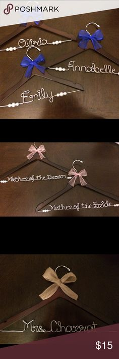 Personalized Wedding Wire Name Hangers! Personalized Wedding Hanger!!! Don't forget a personalized hanger to show off your gorgeous wedding gown! I can custom design a hanger for the bride, bridesmaids, flower girl, or other members of the wedding party. (The total letters per hanger must be under 16 letters including spaces.) Buy 2+ for 10% off & $6 shipping! Leave a note with these details at checkout: ~Name on Wire ~Color of Ribbon if desired (I have most colors of ribbons, message me if