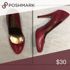 """Red leather high heels Muted red 4"""" heels. Worn only once indoors for photo shoot Jessica Simpson Shoes Heels"""