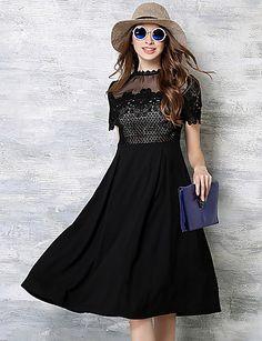 Mujer Línea A / Encaje Vestido Noche Bonito / Sofisticado,Un Color / Retazos Escote Chino Hasta la Rodilla Manga Corta NegroAlgodón / 5118104 2017 – $28.99