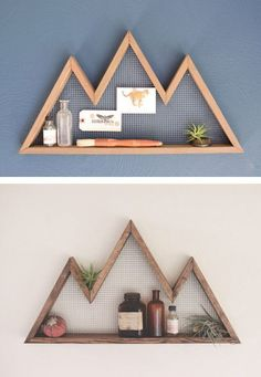 Awesome Bring a little mountain majesty to your living room wall with a reclaimed-hemloc. Bring a little mountain majesty to your living room wall with a reclaimed-hemlock display shelf made by Etsy seller Bourbon Moth Woodworking. Woodworking Projects Diy, Diy Wood Projects, Home Projects, Woodworking Plans, Wood Crafts, Router Projects, Reclaimed Wood Projects, Intarsia Woodworking, Woodworking Logo