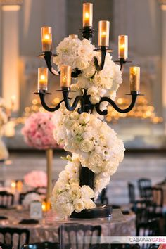 Amazing centerpiece at Vibiana wedding by Tic Tock Couture Florals - photo by Callaway Gable