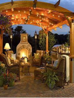Backyard landscape, fireplace
