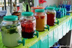 Fresh Fruit Rum Bar: Key Lime Mojitos with fresh mint & key limes, Strawberry Kiwi Daiquiris, Pineapple Rum Punch, & Cherry Limeade
