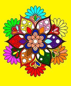 Mandala Mandala Drawing, Mandala Art, Mandala Coloring Pages, 5d Diamond Painting, Flower Mandala, Chalk Art, Easy Paintings, Mandala Design, Fractal Art