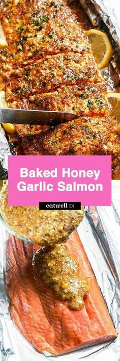 Baked Honey Garlic Salmon in Foil — Sweet and tangy flavors shine in this bright seafood dinner. A whole salmon fillet coated in honey mustard garlic sauce gets baked in foil and broiled to a flak… (Paleo Fish Recipes) Baked Salmon Recipes, Fish Recipes, Seafood Recipes, Cooking Recipes, Healthy Recipes, Recipies, Recipes Dinner, Honey Recipes, Dinner Ideas
