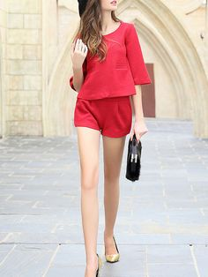 Pockets Wool blend Top And Shorts