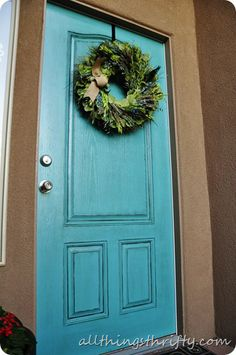 How to paint your front door..i want this color door and house...looks good