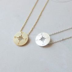 tiny compass necklacecompass jewelry nautical by applelatte