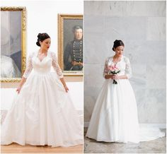 Plus Size Bridal Gowns Sweetheart with Applique Illusion 3/4 Long Sleeves Corset Stain Ball Gown Wedding Dress Chapel Train 2015 New Arrival, $162.31 | DHgate.com
