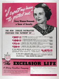 1940 Excelsior Life Insurance original vintage ad.