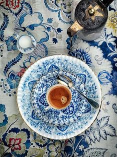 Breakfast coffee with blue china...lovely