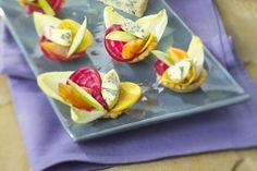 Mini-tartelettes multicolores a la Fourme d'Ambert