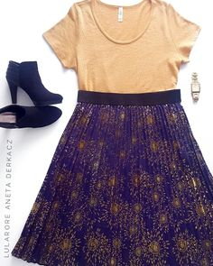 LulaRoe Elegant Collection Jill Skirt and Classic Tee Outfit Flatlay