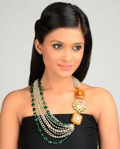 Multi-Strand Faux Pearl Necklace with Rajkumari Pendant  by TAD