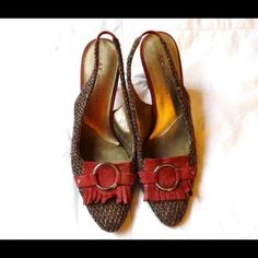 Suede fabric texture high heels Sling back red suede and textured high heel. Look great anytime. Anne Klein Shoes Heels
