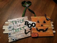crafts with popsicle sticks | Popsicle stick Halloween craft :-)