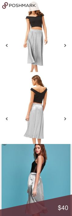 Silver Metallic Pleated Maxi Skirt (Tall) Pleated midi in a slinky, silky satin fabric with side zip fastening. Collaboration with Long Tall Sally and TTYA. Long Tall Sally x TTYA Skirts Maxi