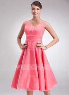 Bridesmaid Dresses - $89.99 - Empire Scoop Neck Knee-Length Organza Bridesmaid Dress With Ruffle (007001796) http://jjshouse.com/Empire-Scoop-Neck-Knee-Length-Organza-Bridesmaid-Dress-With-Ruffle-007001796-g1796